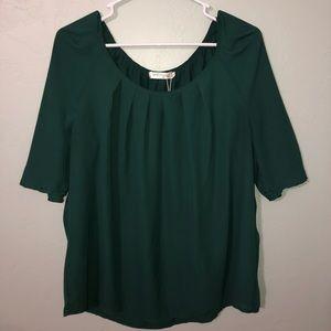 Women's Emerald Blouse with Pleaded Neckline